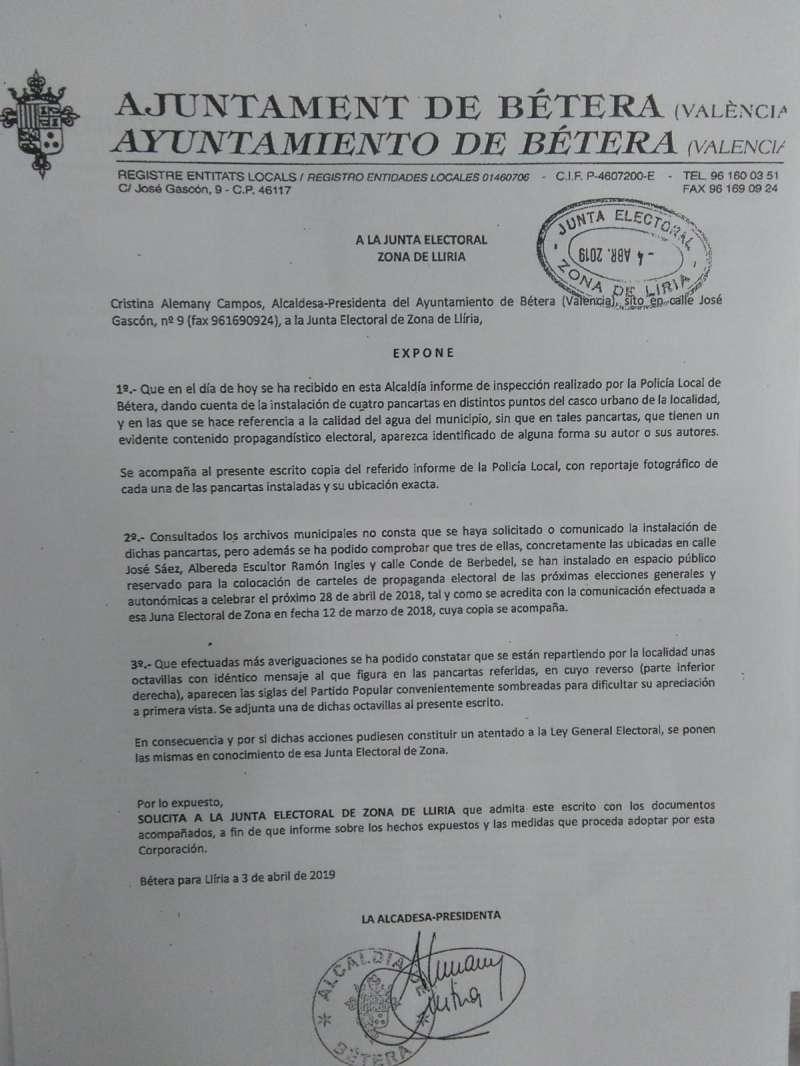 Denuncia del Ayuntamiento de Bétera a la Junta Electoral/ epda