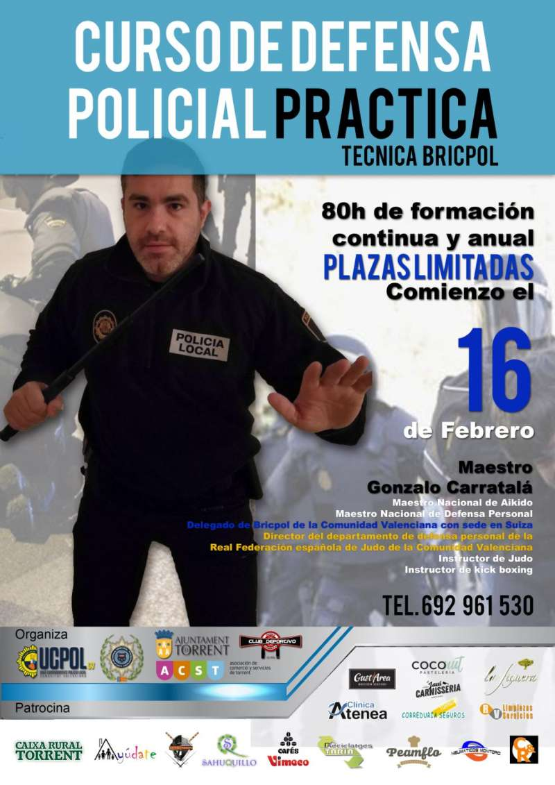 Cartel del curso de defensa personal de la Policía Local de Torrent. EPDA