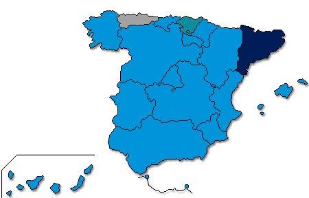 El mapa electoral en España refleja en azul dónde ha ganado el PP.